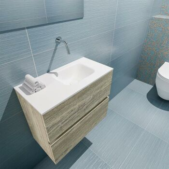 waschtisch set gäste wc ADA 60 cm light brown grey...