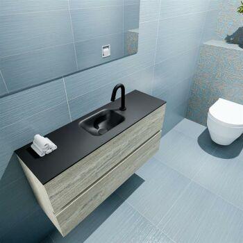 waschtisch set gäste wc ADA 100 cm light brown grey...