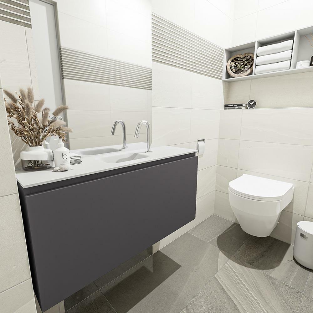 Hängeschrank Schwarz Badmöbel Universell Regal Türe Kommode Toilette Modern Neu