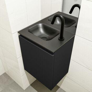 waschtisch set gäste wc OLAN 40 cm schwarz FK75342783