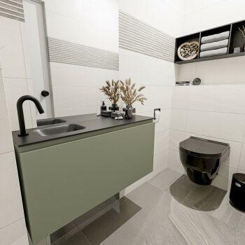 waschtisch set gäste wc OLAN 100 cm army grün...