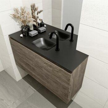 waschtisch set gäste wc OLAN 100 cm dunkelbraun...