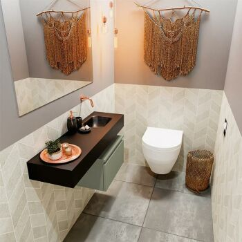 waschtisch set gäste wc ANDOR 100 cm army grün...