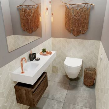 waschtisch set gäste wc ANDOR 100 cm dunkelbraun...