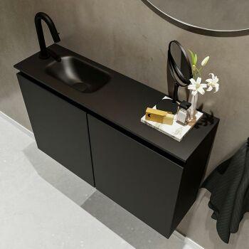 waschtisch set gäste wc TURE 80 cm schwarz FK75341403