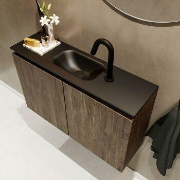 waschtisch set gäste wc TURE 80 cm dunkelbraun...