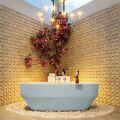 badewanne mineralwerkstoff serie stone 170 cm außen babyblau innen weiß matt 205 liter