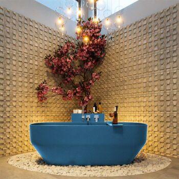 badewanne mineralwerkstoff serie stone 170 cm blau matt...
