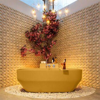 badewanne mineralwerkstoff serie stone 170 cm gelb matt...
