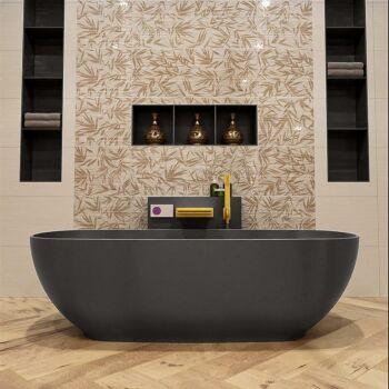 badewanne mineralwerkstoff serie rock 170 cm dunkelgrau...