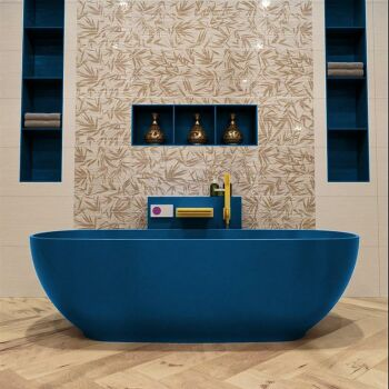 badewanne mineralwerkstoff serie rock 170 cm blau matt...