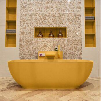 badewanne mineralwerkstoff serie rock 170 cm gelb matt...