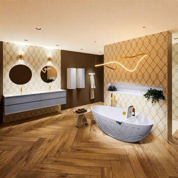 badewanne mineralwerkstoff serie holm 180 cm lavendel...