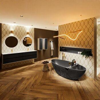 badewanne mineralwerkstoff serie holm 180 cm dunkelgrau...