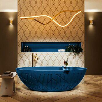 badewanne mineralwerkstoff serie holm 180 cm blau matt...