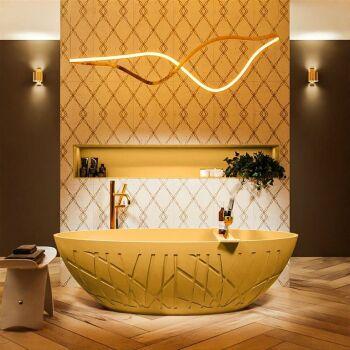 badewanne mineralwerkstoff serie holm 180 cm gelb matt...