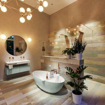 badewanne mineralwerkstoff serie float 170 cm außen minze innen weiß matt 190 liter