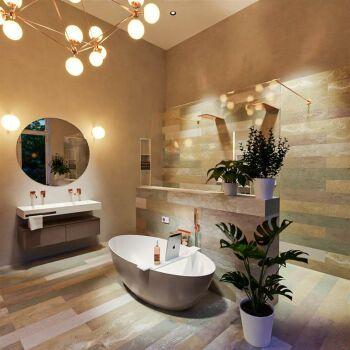 badewanne mineralwerkstoff serie float 170 cm außen taupe innen weiß matt 190 liter