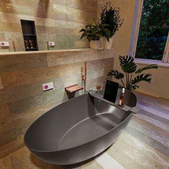 badewanne mineralwerkstoff serie float 170 cm dunkelgrau matt 190 liter