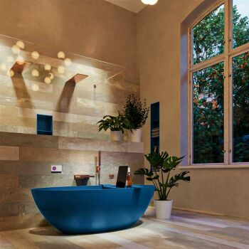 badewanne mineralwerkstoff serie float 170 cm blau matt...