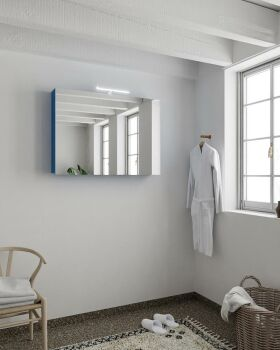 CUBB spiegelschrank 100x70x16cm farbe blau mit 2 türen