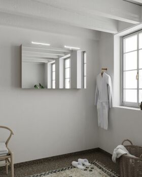 CUBB spiegelschrank 120x70x16cm farbe taupe mit 2 türen