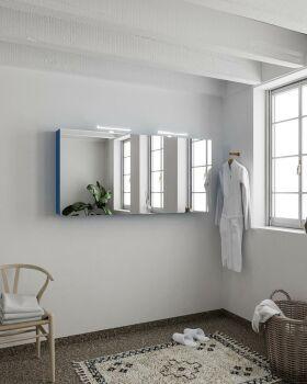 CUBB spiegelschrank 150x70x16cm farbe blau mit 3 türen