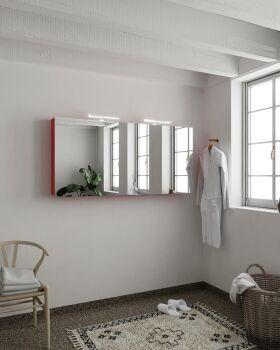 CUBB spiegelschrank 150x70x16cm farbe rot mit 3 türen