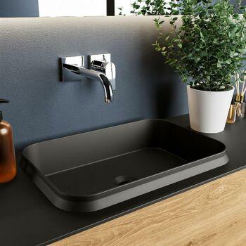 aufsatzwaschbecken solid surface arvo außen Schwarz...
