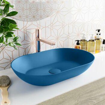 aufsatzwaschbecken solid surface omni außen Blau...
