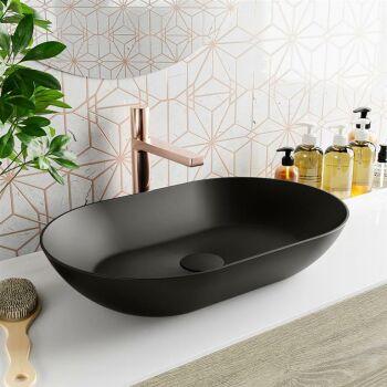 aufsatzwaschbecken solid surface omni außen Schwarz...