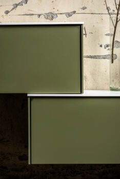 seitenschrank hängeschrank loor solid surface 130 cm...