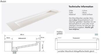waschtisch solid surface freihängend avon 129 cm...