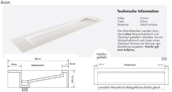 waschtisch solid surface freihängend avon 210 cm M21035